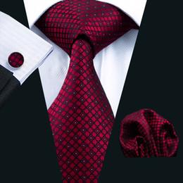Maroon Tie for Men Hankerchief Cufflinks Set Pattern Mens Jacquard Woven Business Necktie 8.5cm Width Casual Set N-0704