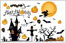 Vacances graphiques en Ligne-Sorcière balai citrouille fantôme chauve-souris art mural de vacances de décoration nuit party holloween heureux graphiques décalcomanie décoration