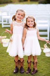 Vintage Lace Cheap Flower Girl's Dresses Jewel Neck Sleeveless A Line Zip Back Knee Length Lovely Girls Pageant Dresses Under $100