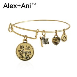 Wholesale Alex Ani It is What It is Antiqued Gold Silver Charm Bangle Bracelets Fashion Jewelry For Women Factory Outlets AA201418