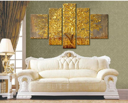 HIGH QUALITY yellow autumn tree painting modern abstract golden oil painting on canvas wall paintings for living room