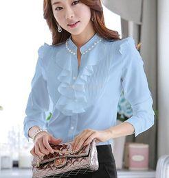 women blouses Spring Autumn Women Blouses Long Sleeve Slim Ruffles Chiffon Top Women Shirts Beading chiffon tops 682D 20