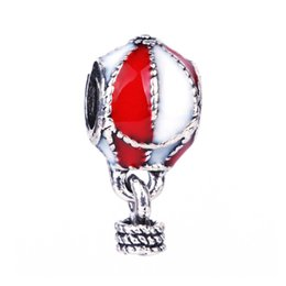 Wholesale 1Pc Red Hot Air Balloon Charms Pendant Bead Silver Beads Charm DIY Fit fashion Bracelet Bangles jewelry making DIY