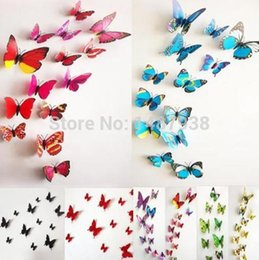 2015 DIY Creative New Art Design Decal Wall Stickers Home Decor Room Decorations 12pcs set 3D Butterfly Wall Stickers