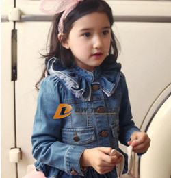 DHL FREE 2014 NEW Kids Toddlers Girls Long Sleeve spring autumn Blue Short Jean Coats denim Jackets solid collar with lace behind