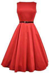 Retro 1950s Red Hepburn Dresses Tea Length Short Party Dress Swing A-line Beatu Neckline Plus Size Prom Evening Gowns