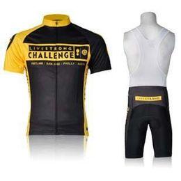 Wholesale Livestrong Challenge Men Cycling Jersey Suit Stylish Yellow Bicycle Wear Shirt and Black Bib Pants