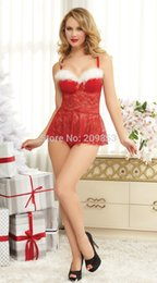 Wholesale Chemise Red Christmas - w1023 Sexy Lingerie red christmas dress padded bra dress+gs tring 2cs lingerie chemise dress set