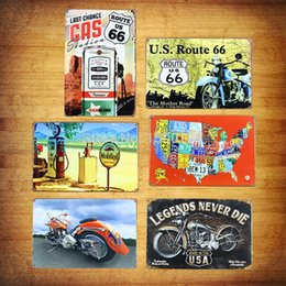 Wholesale 6Pcs Set U S Route motorcycle Vintage Retro Metal Poster Painting Mural Bar Tin sign Iron Picture Home Decor Art Wall sticker