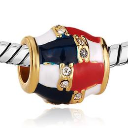 Manufacturer Metal Jewelry USA Flag Faberge Egg Charm Fashion Beads Fits for European Women Bracelets