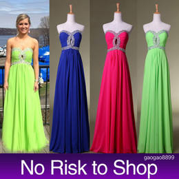 Sexy Chiffon Formal Evening Prom Dresses Sweetheart Beads Royal Blue Fuchsia Lime Green A line Party Gowns Real Image Cheap In Stock NR
