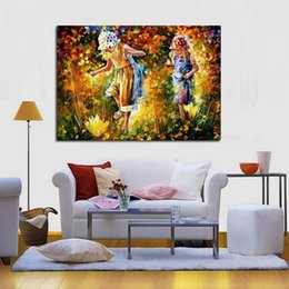 Wholesale Best Quality Wall Art Handpainted Oil Painting Beautiful Two Lovely Girl Abstract Oil Paintings on Canvas Modern Pictures Home Decoration