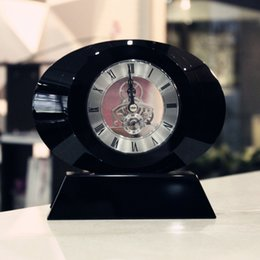 Wholesale Fine black crystal glass clock clock practical TV Cabinet Bookcase oval table decoration