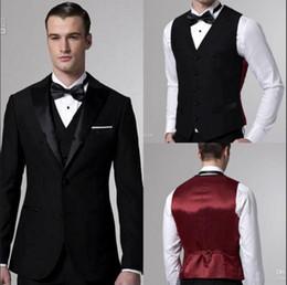 Handsome Black Groom Tuxedos with Satin Lapel and Burgundy Vest Back Custom Made Mens Suits Groomsmen Wedding Suits ( Jacket+Pants+Vest)