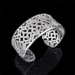 Top quality 925 sterling silver plated heart-shaped bangles with Zircon Fashion Jewelry Valentine's Day gift free shipping