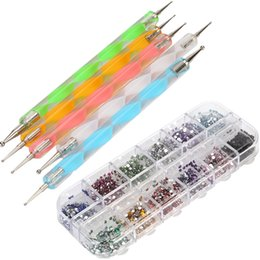 Wholesale 2mm Round Rhinestones Way Dotting Pens Nail Art Salon Tools Kits set