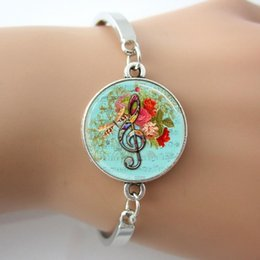 Wholesale Blue Treble Clef Music Note with Dragonfly Roses Glass Cabochon Bracelets Bangles antique silver Charm Rhodium Circle New Design