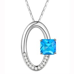 5pcs lot Blue Topaz Crystal 925 Silver Nacklaces Pendants Free shipping Genuine red gemstone CP0274