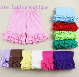 Hot Sale Knit kids clothes Cotton Double Ruffles Shorts-Summer Girls Short- Baby Girls Short With Ruffle