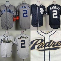 2017 johnny maillots manziel San Diego Padres Jersey # 2 Johnny Manziel Maillot de base-ball Blanc Accueil Gray Road Bleu marine Alternatif Shirt Johnny Manziel Padres johnny maillots manziel offres