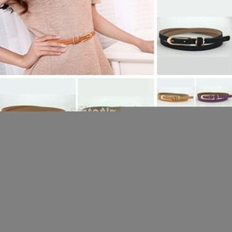 Wholesale Cute Skinny Belts - Wholesale-2015 Fashion Dress Multi-Colors Thin Skinny Pu Leather Waistband Womens Ladies Girls Casual Belt Strap Candy Color Cute Buckle