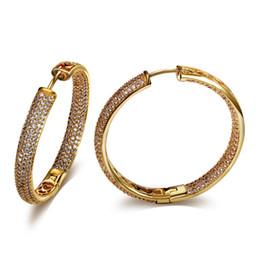 Wholesale 18k white gold plated cubic zirconia hoop earrings Micro Pave Setting Earrings For sexy ladies big hoop earrings jewelry whosaler