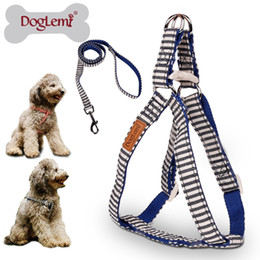 Free Shipping!!! DogLemi Nature Canvas Stripe Design Pet Harness Set Dog Puppy Cat Step in Harness With Leash Set