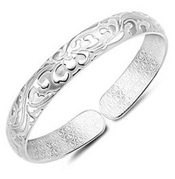 Silver Bangle Bracelet Hot Sale Cuff Bracelets Bangles for Women Girl Wedding Party Fashion Jewelry Wholesale Free shipping 0070WH