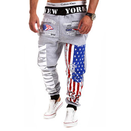 Wholesale-2015 New arrival Joggers Printed five star striped USA flag pattern pants men hip hop trousers sweatpants Free shipping