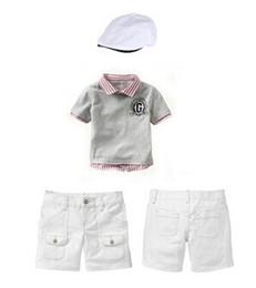 Wholesale 2016 Hot Sale Baby Boy Clothing Set Summer Kids Clothes Boys Hat T shirt Short Pant Children Clothing Suit