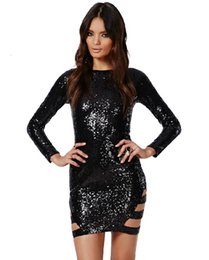 2015 Night Club Wear sexy tight dress party club mesh hollow out dress black bling short dress Solid Color Dress D260L