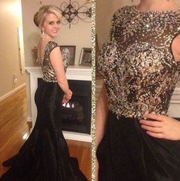 Black Mermaid Evening Dresses Prom Gowns With Sequins Beads Crew Neck Sleeveless Backless Long Satin Mother Of The Bride Dresses