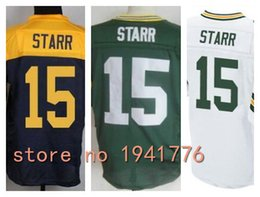 Wholesale Factory Outlet New Bart Starr Retired Men Elite Football Jersey stitched Starr size M XL Mix Order green navy gold white jerseys