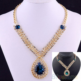 Nobility Gold Pleated Blue Sapphire Pendant Necklace Fashion Jewelry 015D