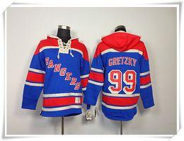 Wholesale Hoodies Jerseys Men ICE Hockey Rangers Gretzky Messier Nash Blue Best quality stitching Jerseys Sports jersey Mix Order