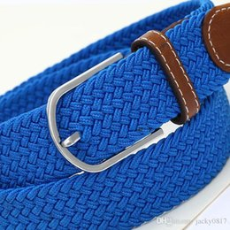 Wholesale Colorful Stretch Belts - 2015 Cintos Femininos Cinto Masculino Korean Mens And Womens Casual Fashion Colorful Wild Stretch Woven Elastic Belt Canvas Buckle 10 Colors