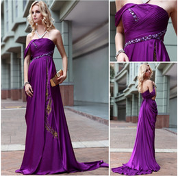 Sexy Evening Dresses 2016 One Shoulder Purple Satin Bridesmaid Dress Pageant Evening Party Gown Woman Formal Gown Custom made