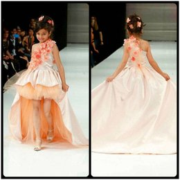 2016 Cute One Shoulder Hi Lo Satin and Tulle Ball Gown With Train Hand made Flowers Girls Pageant Dresses Flower Girl Dresses for kids