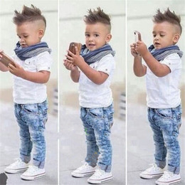 Wholesale Fashion Design Kids Outfits Handsome Boys Short Sleeve White T Shirt Jean Pants Scarf Clothing Unique Baby Clothes TH0020