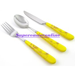 Wholesale-3in1 Stainless Steel Fork & Spoon & Knife Yellow Ceramic Handle New Dinnerware Pack Flatware Set Cutlery Kit Christmas