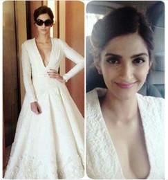 Ashi Studio 2019 Prom Dresses Pure White Long Sleeve Ankle-Length Deep V Neck Appliques A-Line Custom Evening Gowns