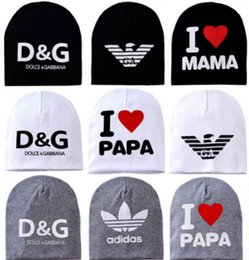 Wholesale 2015 New Baby s hat Cotton Knitted Warm Beanie Hat for Toddler Baby hat Kids Girl Boy cap I LOVE PAPA MAMA print baby cap