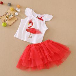 Summer Baby Girls Tutu Dress suits beans fly Brand Flamingo infant 2pcs set(top+ruffle skirt) Girls Princess outfit Kids clothing 16pcs=8set