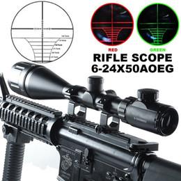 6-24x50AOEG Red Green Mil-Dot Illuminated Optics Hunting Rifle Scope W Rings