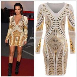 Women Kim Kardashian Dress Long Sleeve Ladies Gold 3D Printed Foil Aztec Bodycon Dresses Sexy V Neck