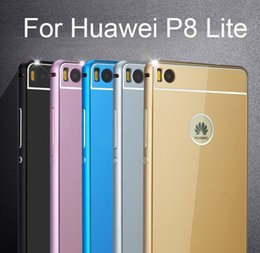 Wholesale Phone cases For Huawei Ascend P8 lite case Premium Aluminum Metal Frame amp Acrylic Back Cover Set For P8 mini cases