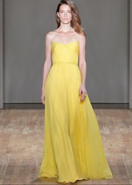 2015 Strapless Yellow Homecoming Dresses Sweetheart Floor Length Cheap Bridesmaid Dresses 2015 Dresses Party Evening with Pleats