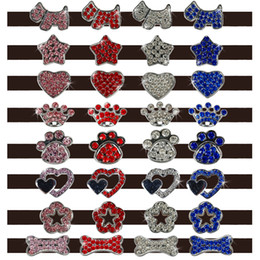 Wholesale Colorful mm Rhinestone Dog Pet Cat Customized Dog Collar Charms Personalized name DIY slider Bone Foot dog crown heart