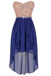 Wholesale Homecoming Dresses Moon and Stars Gold and Blue Belted Sequin High Low Chiffon Formal Party Dress