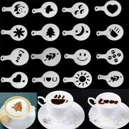 Wholesale 16x Coffee Machine Barista Stencils Template Strew Flower Pad Duster Spray Print art Kitchen Gadgets